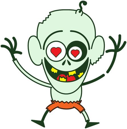 bulging eyes: Carino zombie calvo, con gli occhi fuori dalle orbite, la pelle verde, grandi orecchie, occhi cuore rosso e pantaloni arancioni durante il salto, sorridere e sentirsi follemente innamorato Vettoriali