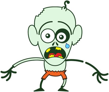 Şişkin gözler, yeşil deri, büyük kulaklar ve portakal pantolon Sevimli kel zombi, ağlama bağırıyor ve çok sıkıntılı bir ruh hali içinde kollarını germe ederken Illustration