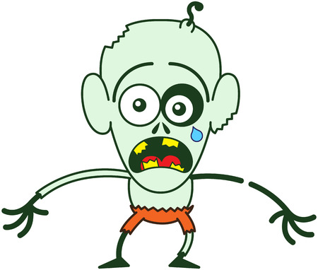 Cute bald zombie with bulging eyes, green skin, big ears and orange pants while crying, yelling and stretching his arms in a very distressed mood