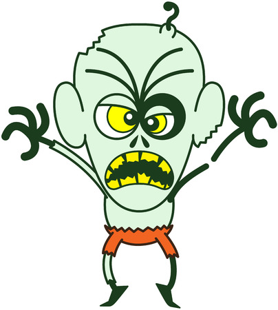 Intimidating bald zombie with bulging crossed eyes, green skin, big ears and orange pants while frowning, yelling, raising his arms and standing on tiptoes in a very aggressive mood
