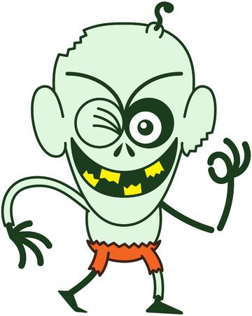bulging eyes: Maligno zombie calvo, con gli occhi fuori dalle orbite, la pelle verde, grandi orecchie e pantaloni arancioni mentre accigliato, sorridendo, ammiccando e alzando il braccio sinistro per fare un segno OK in uno stato d'animo molto entusiasta