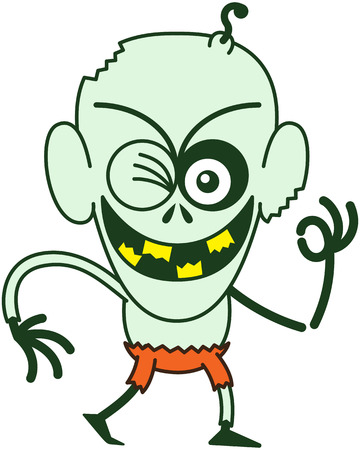 bonny: Mischievous bald zombie with bulging eyes, green skin, big ears and orange pants while frowning, smiling, winking and raising his left arm to make an OK sign in a very enthusiastic mood Illustration