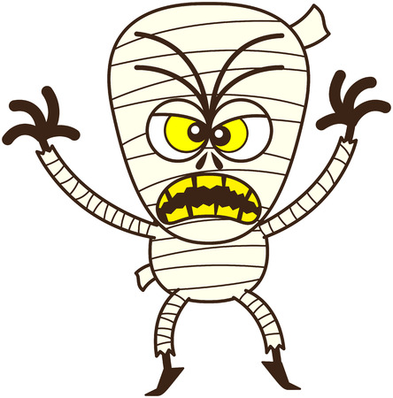 Angry mummy, with bulging yellow eyes and broken yellow teeth, in a very irritated mood while frowning, yelling and raising his arms in a very aggressive attitude Illustration