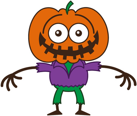 self conscious: Funny scarecrow with a big orange pumpkin as head, bulging eyes, wearing a purple shirt and green pants, while smiling in a very embarrassed mood Illustration