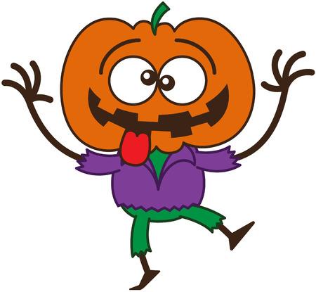 bulging eyes: Raffreddare spaventapasseri con una grande zucca arancione come testa, occhi sporgenti, che indossa una camicia viola e pantaloni verdi, mentre danza, conficca la sua lingua fuori e fanno i fronti divertenti