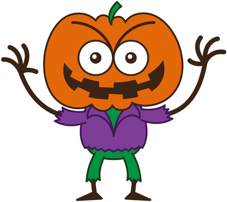 perturbing: Mischievous scarecrow with a big orange pumpkin as head, bulging eyes, wearing a purple shirt and green pants, while frowning, raising its arms and smiling maliciously