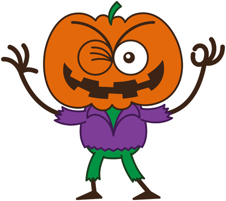 mischievous: Mischievous scarecrow with a big orange pumpkin as head, bulging eyes, wearing a purple shirt and green pants, while winking, smiling and making an OK sign