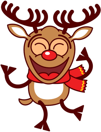 clenching: Lovely brown reindeer with big antlers and red nose and wearing a red scarf while clenching its eyes, smiling, shaking its body and dancing energetically Illustration