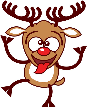 bulging eyes: Nice brown reindeer with big antlers and red nose while crossing its eyes, sticking its tongue out, raising a leg and making funny faces