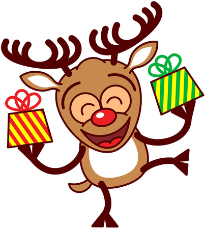 caribou: Happy brown reindeer with big antlers and red nose while smiling, raising a leg, holding beautifully decorated gifts and celebrating Christmas enthusiastically
