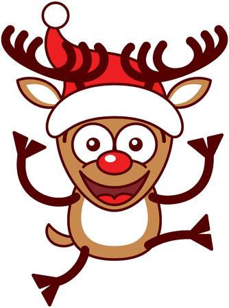 energetically: Funny brown reindeer with big antlers, red nose and wearing a Santa hat while staring at you, smiling, raising its legs and jumping energetically