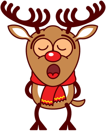 bulging eyes: Adorable brown reindeer with big antlers, red nose and wearing a red scarf while standing straight, putting its legs behind its body and singing totally concentrated and inspired