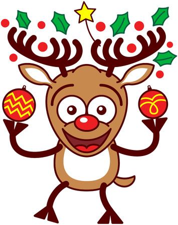 enthusiastic: Enthusiastic brown reindeer with big antlers, decorated with a yellow star and evergreen holly leaves, and red nose while holding two beautifully decorated Christmas baubles