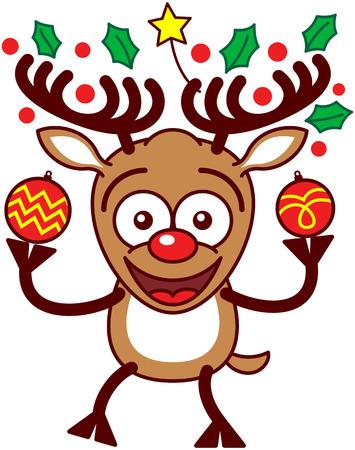 nariz roja: Reno marr�n entusiasta con grandes cornamentas, decorado con una estrella amarilla y de hoja perenne hojas de acebo y la nariz roja, mientras que la celebraci�n de dos adornos de Navidad bellamente decoradas Vectores