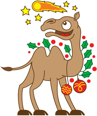 humps: Happy brown camel ornamented with evergreen holly leaves and red Christmas baubles while watching a comet, which is flying in the sky in the middle of yellow stars Illustration