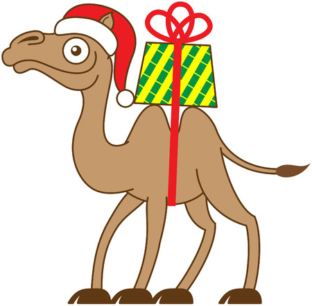humps: Brown Christmas camel carrying a gift on his back while smiling, staring at you and walking with the gift on top of his two fatty humps and attached with a long red strap