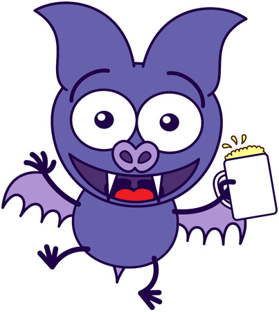 bulging eyes: Purple bat in minimalistic style with sharp fangs, bulging eyes and short wings while holding a glass of beer and celebrating