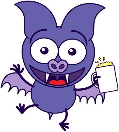 bulging eyes: Viola pipistrello in stile minimalista con zanne affilate, occhi sporgenti e brevi ali, mentre in possesso di un bicchiere di birra e celebrare