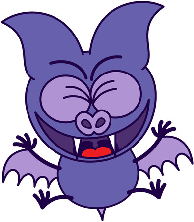 clenching: Purple bat in minimalistic style with sharp fangs and short wings while clenching its bulging eyes, jumping and celebrating enthusiastically