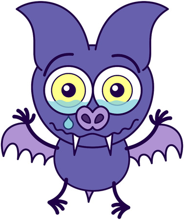 bulging: Purple bat in minimalistic style with sharp fangs, bulging eyes and short wings while feeling sad and crying bitterly