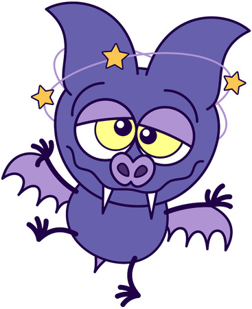 bulging: Purple bat in minimalistic style with sharp fangs, bulging eyes and short wings while walking unsteadily and feeling dizzy