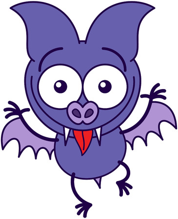 funny faces: Purple bat in minimalistic style with sharp fangs, bulging eyes and short wings while widely opening its bulging eyes and making funny faces