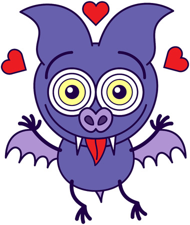 Purple bat in minimalistic style, with crazy bulging eyes, short wings and red hearts around its head while sticking its tongue out and feeling madly in love Vector