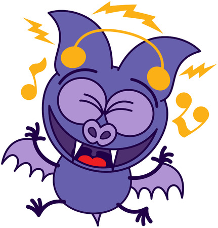 bulging: Purple bat in minimalistic style with bulging eyes, sharp fangs and short wings while clenching its eyes, smiling animatedly and listening to music thanks to its earphones Illustration