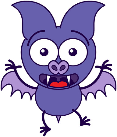 agitated: Purple bat in minimalistic style with bulging eyes, sharp fangs and short wings while widely opening its eyes and showing big surprise and fear Illustration