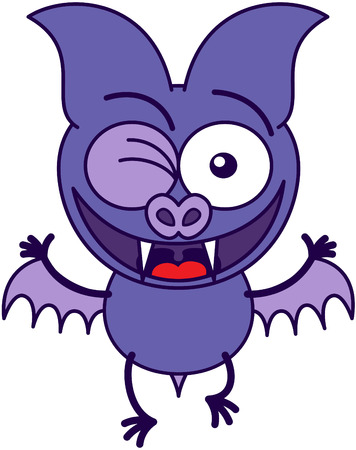 bulging eyes: Purple bat in minimalistic style, with bulging eyes and short wings while posing, winking enthusiastically and making thumbs up hand gestures as for celebrating something