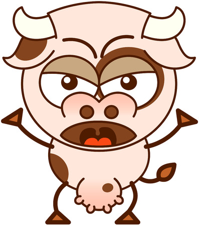 Cute cow in minimalistic style with bulging eyes and big udder while raising its arms and frowning in an angry mood Illustration