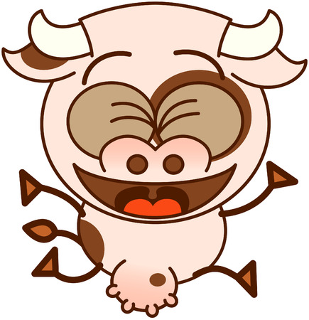 bulging eyes: Mucca sveglia in stile minimalista, con occhi sporgenti e grandi mammelle, mentre stringendo gli occhi e saltare con entusiasmo, come per festeggiare qualcosa di speciale