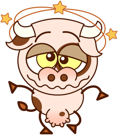 Cute cow in minimalistic style with bulging crossed eyes, big udder and yellow stars spinning around its head while feeling dizzy and walking unsteadily