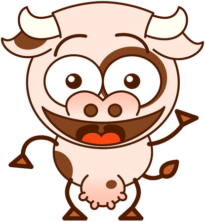 enthusiastically: Cute cow in minimalistic style with bulging eyes and big udder while waving and greeting enthusiastically