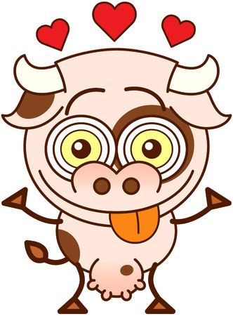 Cute cow in minimalistic style, with bulging eyes and big udder while showing red hearts above its head, smiling and sticking its tongue out to show it is madly in love Illustration