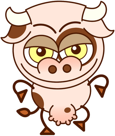 bulging: Cute cow in minimalistic style, with bulging eyes and big udder while walking and smiling maliciously