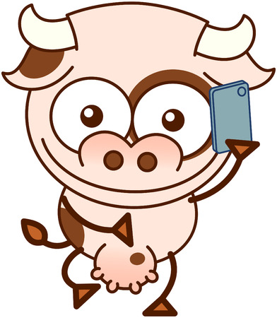 udder: Cute cow in minimalistic style, with bulging eyes and big udder while having fun talking to someone thanks to its smartphone