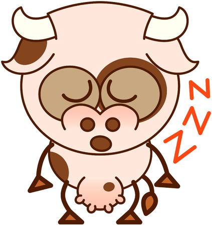 closing: Cute cow in minimalistic style, with bulging eyes and big udder while closing its eyes while sleeping standing up