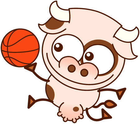 bulging eyes: Cute cow in minimalistic style, with bulging eyes and big udder while smiling, jumping and playing basketball