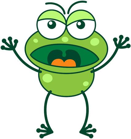 bulging eyes: Carino rana verde con occhi sporgenti e le lunghe gambe mentre accigliato, alzando le braccia, urlando e mostrando uno stato d'animo molto arrabbiato