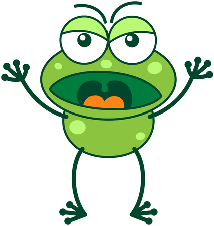 grumble: Cute green frog with bulging eyes and long legs while frowning, raising its arms, yelling and showing a very angry mood