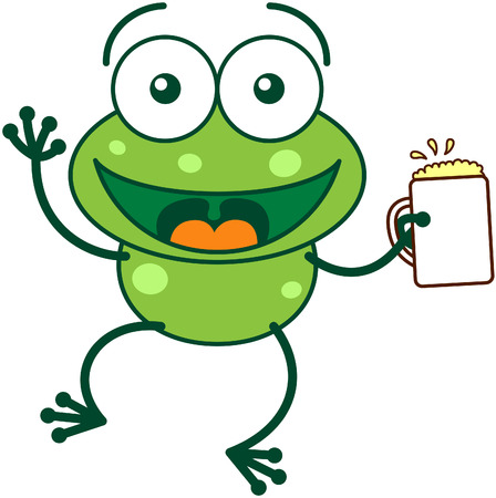 leggy: Cute green frog with bulging eyes and long legs while waving and holding a glass of beer as for celebrating something
