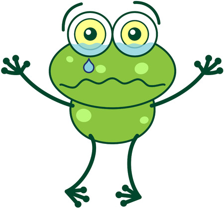 Kollarını yükselterek, gözleri ve uzun bacakları şişkin acı acı ağlıyor ve üzgün ile sevimli yeşil kurbağa