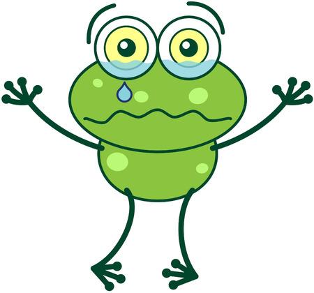 Rana verde linda con ojos saltones y sus largas piernas mientras levanta sus brazos, llorando amargamente y sentirse triste