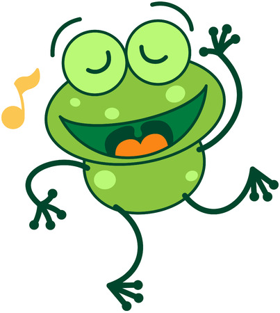 bulging: Cute green frog with long legs while closing its bulging eyes, showing a musical note and dancing animatedly