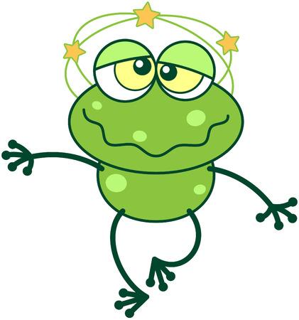 bulging eyes: Carino rana verde con lunghe gambe e gli occhi sporgenti divertente quando sensazione di vertigini, mostrando stelle gialle filatura intorno alla sua testa, piedi barcollando e facendo un grande sforzo per mantenere l'equilibrio Vettoriali