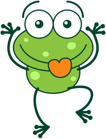 leggy: Cute green frog with bulging eyes and long legs while sticking its tongue out and making funny faces in a very amusing way