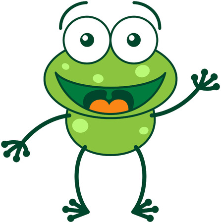 Cute green frog with bulging eyes and long legs while waving and greeting enthusiastically