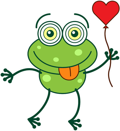 madly: Cute green frog with bulging funny eyes and long legs while sticking its tongue out, holding a red heart balloon with its hand and feeling madly in love