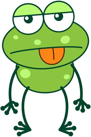 bulging eyes: Carino rana verde con occhi sporgenti e le gambe lunghe, mentre attaccare la sua lingua e mostrando un atteggiamento apatico preoccuparsi